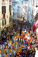 Gubbio 15 MAY 2004..Festival of the Ceri..The Ceri in Via dei Consoli....http://www.ceri.it/ceri_eng/index.htm..