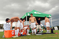 Players get weighed at the Gatorade hydration station during day three of the US Soccer Development Academy  Spring Showcase in Sarasota, FL, on May 24, 2009.