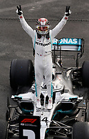 27th October 2019, Autodromo HermanRodriguez, Mexico City, Mexico; F1 Grand Prix of Mexico, Race Day; Winner Lewis Hamilton GBR, Mercedes AMG Petronas Motorsport celebrates in parc ferme