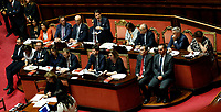 The Premier Giuseppe Conte during his speech surrounded by ministers<br /> Rome September 10th 2019. Senate. Discussion and Trust vote at the new Government. <br /> Foto  Samantha Zucchi Insidefoto
