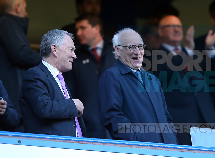Chelsea's Bruce Bruck speaks to Richard Scudamore during the Premier League match at Stamford Bridge Stadium, London. Picture date: April 25th, 2017. Pic credit should read: David Klein/Sportimage