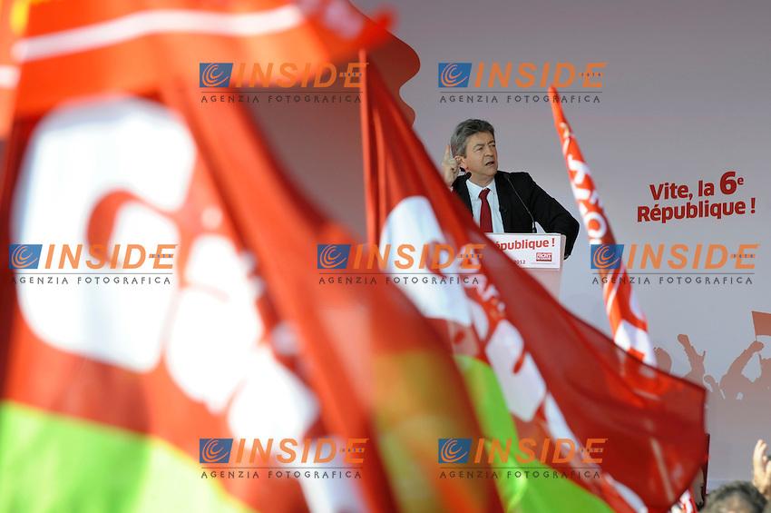Jean Luc Melenchon candidato del Front de Gauche alle elezioni Presidenziali di Francia 2012.Marsiglia 14/4/2012.Foto Insidefoto / Franck Pennant / Panoramic.ITALY ONLY