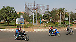 Niamey - Niger, March 30, 2012 -- Roundabout with motorbikes; transport, traffic, infrastructure -- Photo © HorstWagner.eu