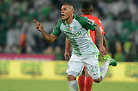 MEDELLÍN - COLOMBIA, 16-08-2017: Aldo Leao Ramirez de Atlético Nacional celebra después de anotar un gol a América de Cali durante partido por la date 8 de la Liga Águila II 2017 jugado en el estadio Atanasio Girardot de la ciudad de Medellín. / Aldo Leao Ramirez payer of Atletico Nacional celebrates after scoring a goal to America de Cali during match for the date 8 of the Aguila League II 2017 at Atanasio Girardot stadium in Medellin city. Photo: VizzorImage/León Monsalve/Cont