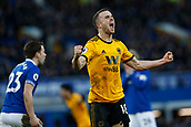 2nd February 2019, Goodison Park, Liverpool, England; EPL Premier League Football, Everton versus Wolverhampton Wanderers; Diogo Jota celebrates after Leander Dendoncker puts them 3-1 up after 66 minutes