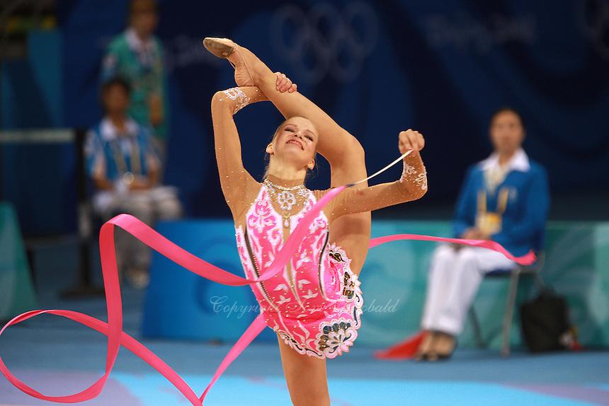 August 23, 2008; Beijing, China; Rhythmic gymnast Olga Kapranova of Russia performs ribbon routine during qualifying round at 2008 Beijing Olympics..(©) Copyright 2008 Tom Theobald
