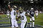Colorado State's Jordan White (81) celebrates as Steven Walker (30) scores against Nevada in the first half of an NCAA college football game in Reno, Nev., on Saturday, Oct. 11, 2014. Colorado State won 31-24. Nevada defender Bryan Lane Jr. (25) is at right. (AP Photo/Cathleen Allison)