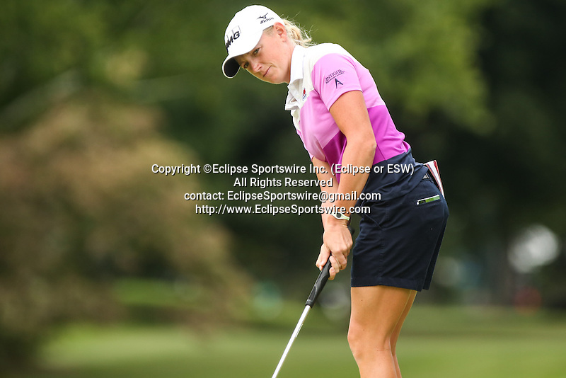 Stacy Lewis watches her putt on the 10th green at the LPGA Championship 2014 Sponsored By Wegmans at Monroe Golf Club in Pittsford, New York on August 16, 2014