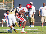 Palos Verdes, CA 10/09/15 - Patrick Jeune (Morningside #1) and \p32\ in action during the Morningside - Peninsula varsity football game.  Morning side defeated Peninsula 24-21.