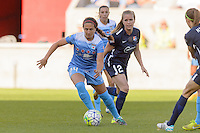 Bridgeview, IL, USA - Sunday, May 29, 2016: Chicago Red Stars midfielder Danielle Colaprico (24) and Sky Blue FC midfielder Kelly Conheeney (24) during a regular season National Women's Soccer League match between the Chicago Red Stars and Sky Blue FC at Toyota Park. The game ended in a 1-1 tie.