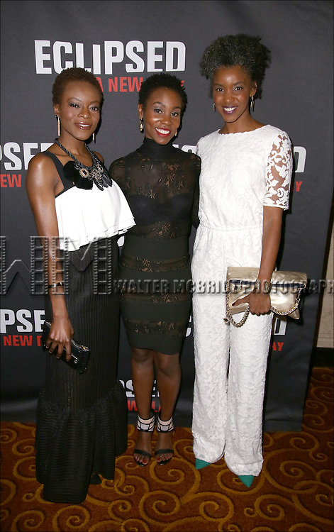 Joniece Abbott-Pratt, Ayesha Jordan and Adeola Role attends the 'Eclipsed' broadway opening night after party at Gotham Hall on March 6, 2016 in New York City.
