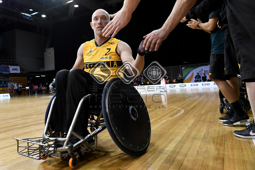 Jason Lees (AUS) vs Japan<br /> Australian Wheelchair Rugby Team<br /> 2018 IWRF WheelChair Rugby <br /> World Championship / Day 4<br /> Sydney  NSW Australia<br /> Wednesday 8th August 2018<br /> &copy; Sport the library / Jeff Crow / APC