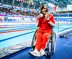 Lima, Peru -  27/August/2019 -  Krystal Shaw takes the silver medal in women's 100m backstroke S7 at the Parapan Am Games in Lima, Peru. Photo: Dave Holland/Canadian Paralympic Committee.
