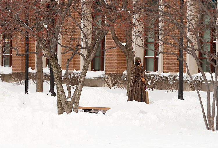 Pedestrians make their way through the Quad at the Lincoln Park Campus of DePaul University in Chicago, Tuesday, Jan. 7, 2014. (Photo by Jamie Moncrief)