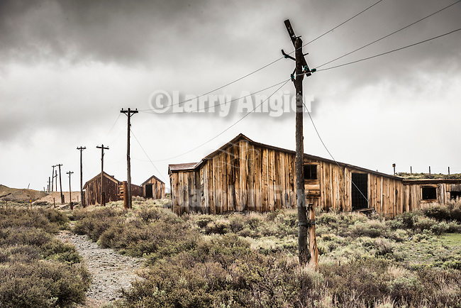 Green Street and power poles, the ghost town of Bodie, California, State Historic Park.