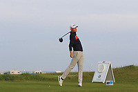 Lewis Irvine (SCO) on the 1st tee during Round 1of the Flogas Irish Amateur Open Championship 2019 at the Co.Sligo Golf Club, Rosses Point, Sligo, Ireland. 16/05/19<br /> <br /> Picture: Thos Caffrey / Golffile<br /> <br /> All photos usage must carry mandatory copyright credit (© Golffile | Thos Caffrey)