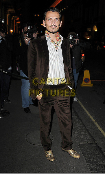 MATTHEW WILLIAMSON .attending Vogue And Creme De La Mer Celebration Of Fashion Dinner, Browns Hotel, London, England, .18th September 2008.full length brown suit beard facial hair scarf moustache gold shoes .CAP/BEL.©Tom Belcher/Capital Pictures