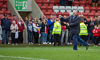 Cheltenham manager Gary Johnson celebrates his side's win at full time of the Sky Bet League 2 match between Cheltenham Town and Crawley Town at the LCI Rail Stadium, Cheltenham, England on 15 October 2016. Photo by Mark  Hawkins.