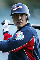 Motonobu Tanishige of Japan during World Baseball Championship at Angel Stadium in Anaheim,California on March 15, 2006. Photo by Larry Goren/Four Seam Images