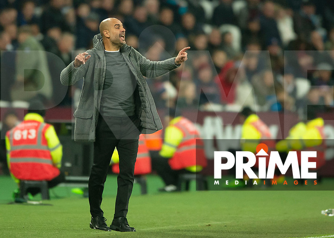 Joseph Guardiola manager of Manchester City during the Premier League match between West Ham United and Manchester City at the Olympic Park, London, England on 24 November 2018. Photo by Vince Mignott / PRiME Media Images.