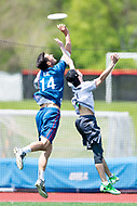 """Washington, DC - APR 22, 2018: DC Breeze Lloyd Blake (14) catches a touchdown over Ottawa Outlaws Erik Hunter (27) during AUDL game between DC Breeze and the Ottawa Outlaws. The DC Breeze get the win 26-19 over Ottawa in the Battle of the Capitals"""" at Catholic University Washington, DC. (Photo by Phil Peters/Media Images International)"""