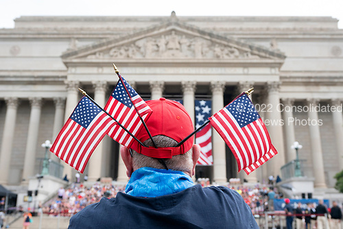 Parade-goers line up for the Independence Day Parade along Constitution Avenue in Washington DC on July 4, 2019.<br /> <br /> Credit: Stefani Reynolds / CNP