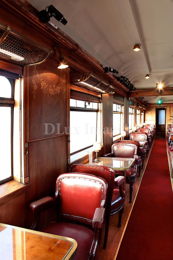 vintage dining room on train wagon