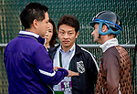 LOUISVILLE, KENTUCKY - MAY 01: Trainer Koichi Tsunoda (center) gives workout instructions to jockey Julien Leparoux through an interpreter before Master Fencer breezed four furlongs in preparation for the Kentucky Derby at Churchill Downs in Louisville, Kentucky on May 1, 2019. Scott Serio/Eclipse Sportswire/CSM