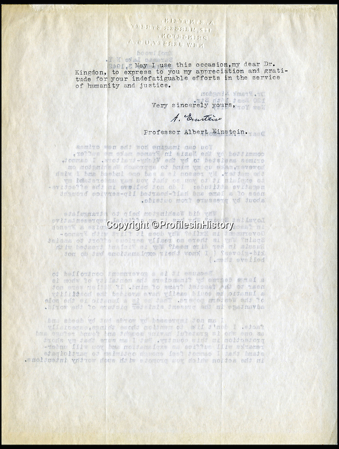 """BNPS.co.uk (01202 558833)<br /> Pic: ProfilesinHistory/BNPS<br /> <br /> An explosive unseen letter from Albert Einstein berating Hitler, the US Government, Vichy France and General Franco has come to light.<br /> <br /> The private letter written in 1942 controversially criticises the country that saved him from Hitler as being a 'Government controlled...by near fascist financiers' and not doing enough to defeat the Nazis.<br /> <br /> The genius thought that before America entered the Second World War the country was being run by a super-rich fascist elite who sided with the Nazi regime and the US government was not inclined to act because of it.<br />  <br /> And most damningly Einstein believed if it was not for Hitler's """"lunacy"""" the US would have ultimately left the Third Reich in peace. <br /> <br /> Profile in History - April 18th - £30,000"""