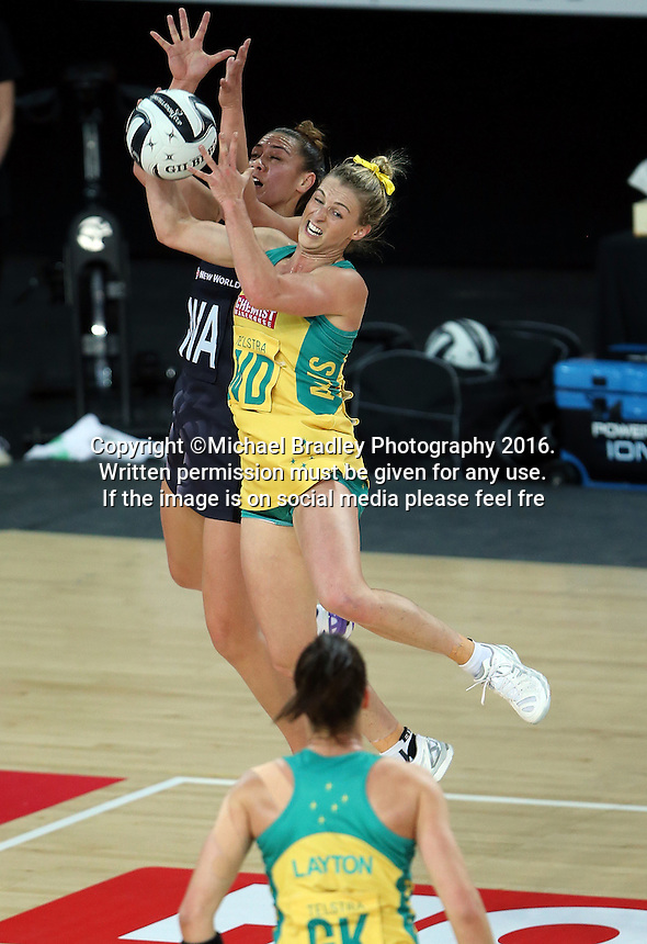 15.10.2016 Silver Ferns Grace Rasmussen and Australia's Gabi Simpson in action during the Silver Ferns v Australia netball test match played at Vector Arena in Auckland. Mandatory Photo Credit ©Michael Bradley.