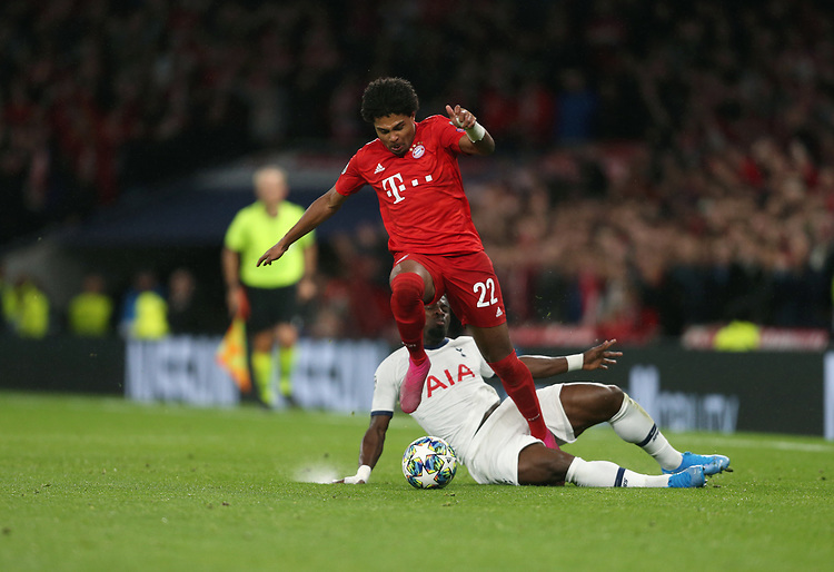 Bayern Munich's Serge Gnabry and Tottenham Hotspur's Serge Aurier<br /> <br /> Photographer Rob Newell/CameraSport<br /> <br /> UEFA Champions League Group B  - Tottenham Hotspur v Bayern Munich - Tuesday 1st October 2019 - White Hart Lane - London<br />  <br /> World Copyright © 2018 CameraSport. All rights reserved. 43 Linden Ave. Countesthorpe. Leicester. England. LE8 5PG - Tel: +44 (0) 116 277 4147 - admin@camerasport.com - www.camerasport.com