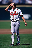 SAN FRANCISCO, CA - Greg Maddux of the Atlanta Braves stands on the field during a game against the San Francisco Giants at Candlestick Park in San Francisco, California in 1999. (Photo by Brad Mangin)