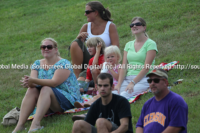 30July2010: Carolina Panther fans watch training camp. The Panthers held an afternoon training camp session at Wofford College in Spartanburg, South Carolina.