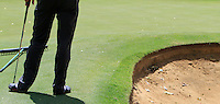 Alexandre Kaleka (FRA) on the 17th green with a plugged ball in the bunker during Round 1 of the ISPS HANDA Perth International at the Lake Karrinyup Country Club on Thursday 23rd October 2014.<br /> Picture:  Thos Caffrey / www.golffile.ie