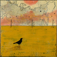 Antique map in sky with encaustic photo transfer of lone crow by Jeff League.