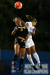 17 September 2015: Appalachian State's Jenni Loveless (3) and Duke's Cassie Pecht (behind). The Duke University Blue Devils hosted the Appalachian State University Mountaineers at Koskinen Stadium in Durham, NC in a 2015 NCAA Division I Women's Soccer match. Duke won the game 6-0.