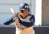 Florida International University catcher AJ Woodward (15) plays against the University of Illinois.  FIU won the game 8-0 on February 12, 2012 at Miami, Florida. .