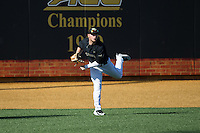 Wake Forest Demon Deacons left fielder Jonathan Pryor (11) throws the ball back to the infield during the game against the Florida State Seminoles at David F. Couch Ballpark on April 16, 2016 in Winston-Salem, North Carolina.  The Seminoles defeated the Demon Deacons 13-8.  (Brian Westerholt/Four Seam Images)
