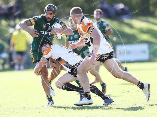 The Wyong Roos play The Entrance Tigers in Round 5 of the Reserve Grade Central Coast Rugby League Division at Morry Breen Oval on 6 May, 2018 in Kanwal, NSW Australia. (Photo by Paul Barkley/LookPro)