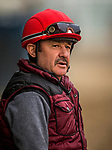ARCADIA, CA - APRIL 01: Agapito Delgadillo waits to get aboard Bolt d'Oro at Santa Anita Park on April 01, 2018 in Arcadia, California. (Photo by Alex Evers/Eclipse Sportswire/Getty Images)
