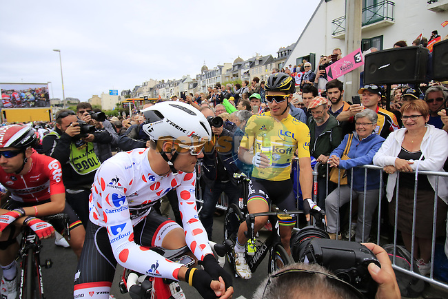The peloton including Polka Dot Jersey wearer Jasper Stuyven (BEL) Trek Segafredo and race leader Yellow Jersey Peter Sagan (SVK) Tinkoff lined up for the start of Stage 3 of the 2016 Tour de France, running 223.5km from Granville to Angers, France . 4th July 2016.<br /> Picture: Eoin Clarke | Newsfile<br /> <br /> <br /> All photos usage must carry mandatory copyright credit (&copy; Newsfile | Eoin Clarke)