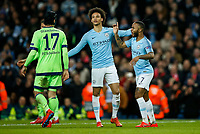 Raheem Sterling of Manchester City reacts after the decision is made to consult VAR for Manchester City's fourth goal to make the score 4-0 during the UEFA Champions League Round of 16 second leg match between Manchester City and Schalke 04 at the Etihad Stadium on March 12th 2019 in Manchester, England. (Photo by Daniel Chesterton/phcimages/Insidefoto)