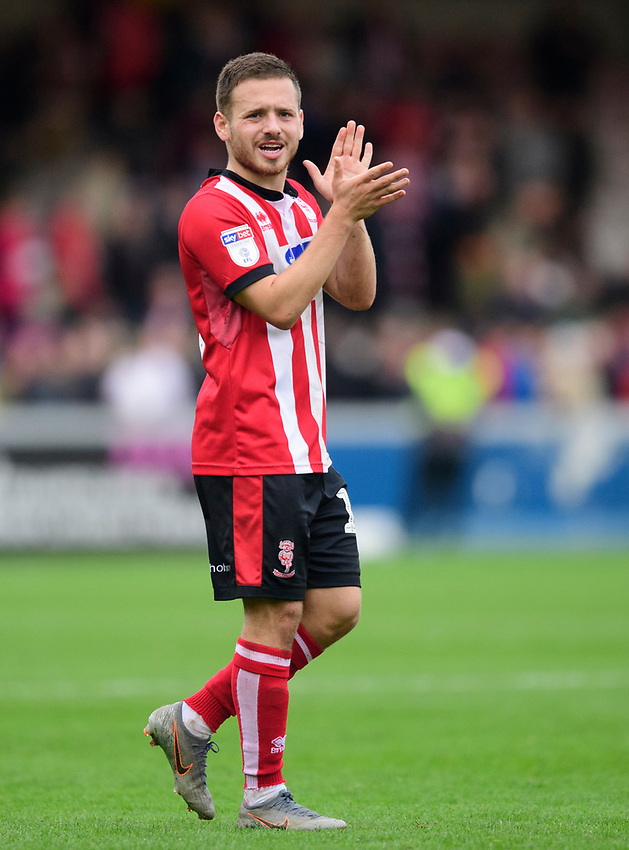 Lincoln City's Jack Payne applauds the fans at the final whistle<br /> <br /> Photographer Chris Vaughan/CameraSport<br /> <br /> The EFL Sky Bet League One - Lincoln City v Sunderland - Saturday 5th October 2019 - Sincil Bank - Lincoln<br /> <br /> World Copyright © 2019 CameraSport. All rights reserved. 43 Linden Ave. Countesthorpe. Leicester. England. LE8 5PG - Tel: +44 (0) 116 277 4147 - admin@camerasport.com - www.camerasport.com