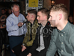 Gerry Kelly interviews players Jamie Hollywood, Richie Purdy and Kevin Faulkner at the Drogheda United meet and greet night in Mother Hughes's. Photo:Colin Bell/pressphotos.ie