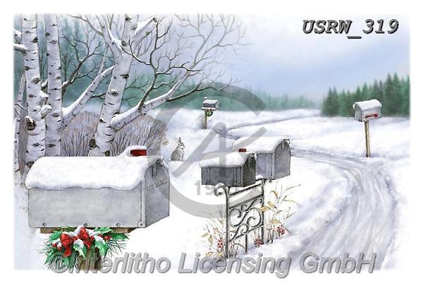 Randy, CHRISTMAS LANDSCAPES, WEIHNACHTEN WINTERLANDSCHAFTEN, NAVIDAD PAISAJES DE INVIERNO, paintings+++++Mailboxes-In-Snow-CC-Randy-sm,USRW319,#xl#
