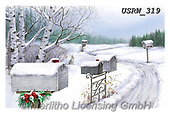 Randy, CHRISTMAS LANDSCAPES, WEIHNACHTEN WINTERLANDSCHAFTEN, NAVIDAD PAISAJES DE INVIERNO, paintings+++++Mailboxes-In-Snow-CC-Randy-sm,USRW319,#xl#