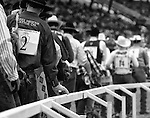 Members of Wild Horse Racing teams proceed single file into Frontier Park to compete in Wild Horse Racing during the annual Cheyenne Frontier Days Rodeo.