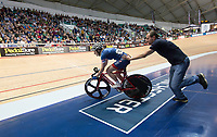 Picture by Allan McKenzie/SWpix.com - 06/01/2018 - Track Cycling - Revolution Champion Series 2017 - Round 3 - HSBC UK National Cycling Centre, Manchester, England - Abigail Dentus gets a push start in the Elite Championshkip points race, Team Inspired, HSBC UK, Kalas, branding.