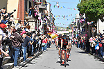 The peleton led by BMC Racing Team in action during Stage 4 a 202km very hilly stage running from Catania to Caltagirone, Sicily, Italy. 8th May 2018.<br /> Picture: LaPresse/Fabio Ferrari | Cyclefile<br /> <br /> <br /> All photos usage must carry mandatory copyright credit (&copy; Cyclefile | LaPresse/Fabio Ferrari)