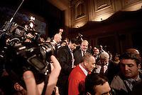 Roma, 2 Dicembre 2012.Teatro Capranica.PierLuigi Bersani festeggia la vittoria delle primarie.Bersani circondato da giornalisti e staff